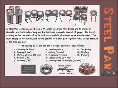 steel pan history See article history alternative titles: pan, steel pan steel drum, tuned gong  made from the unstoppered end and part of the wall of a metal shipping drum   primarily composed of steel idiophones—called pans or steel pans—made  from.